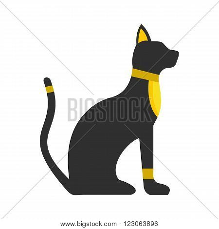 Black Egyptian cat icon in flat style isolated on white background