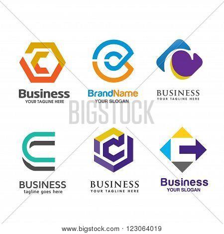 Set of letter C logo icons design template elements