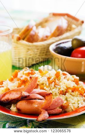 Sausages With Rice Porridge