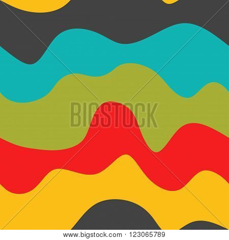 Seamless wave pattern with color curves. Design for a print, textiles, backgrounds