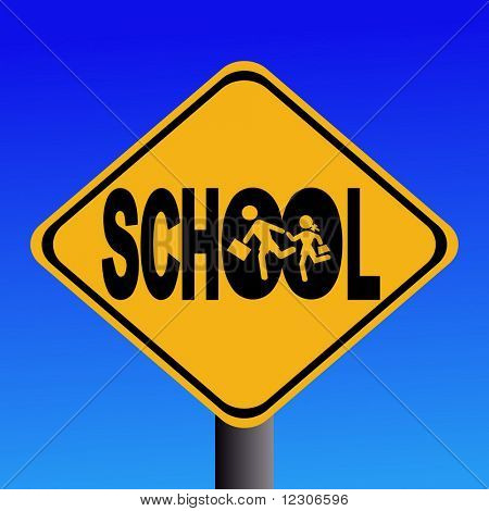 Warning school sign with children silhouettes illustration