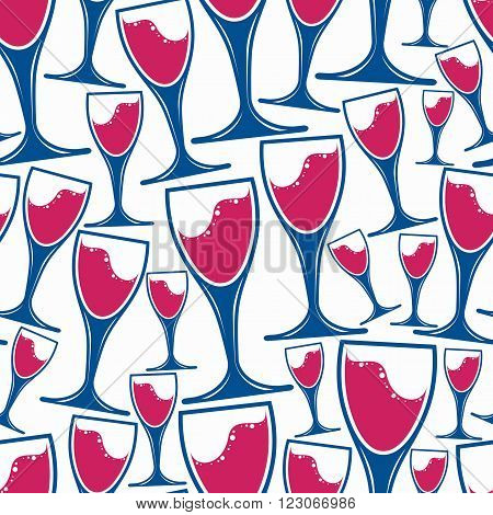 Winery Theme Vector  Seamless Pattern, Decorative Stylish Wine Goblets. Wine Tasting Conceptual Symb