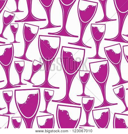 Winery Theme Vector Seamless Pattern, Decorative Stylish Wine Goblets. Wine Tasting Conceptual Symbo