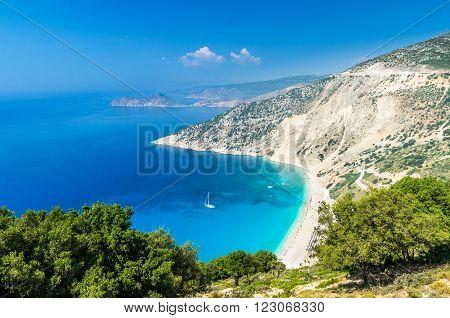 Myrtos beach, Kefalonia Island, Greece. Mirtos bay