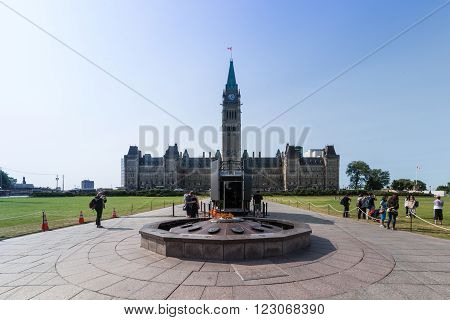 June 18, 2015 - Ottawa, Canada  Canada's Parliament buildings with the Centennial flame