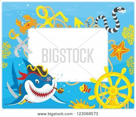Vector horizontal frame border with a pirate shark, a sea snake, a crab, a starfish, a steering wheel and an anchor from a sunken ship