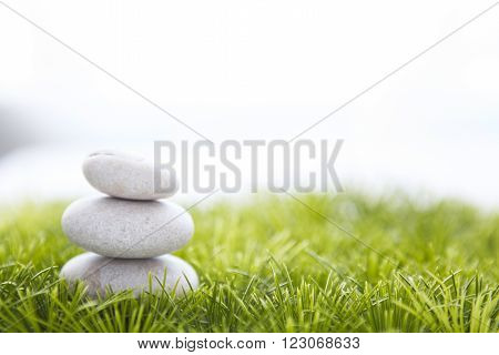 Stones And Grass Isolated On White Background.