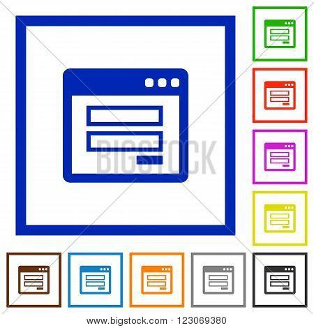 Set of color square framed login panel flat icons on white background