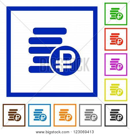 Set of color square framed ruble coins flat icons on white background