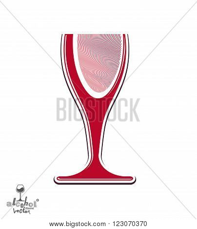 Beautiful Vector Sophisticated Wine Goblet, Stylish Alcohol Theme Illustration. Artistic Wineglass,