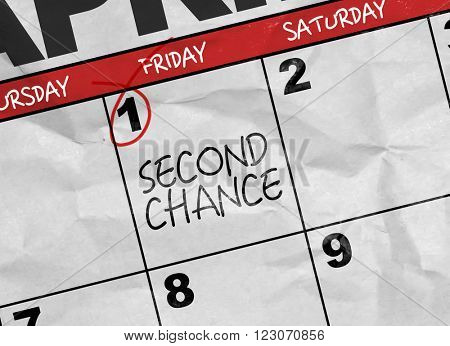Concept image of a Calendar with the text: Second Chance
