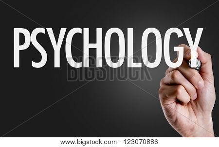 Hand writing the text: Psychology