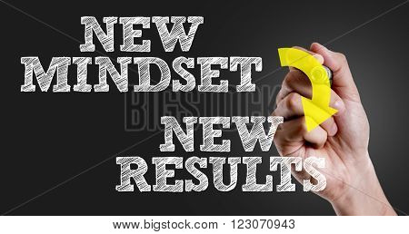 Hand writing the text: New Mindset - New Results
