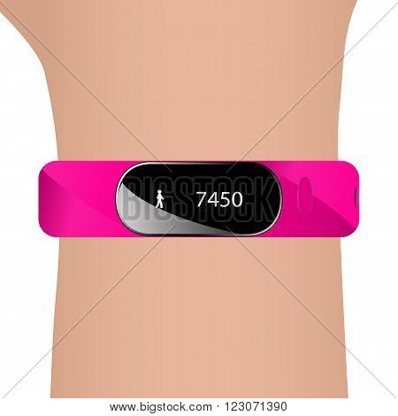 Vector illustration of fitness bracelet and hand. Pink strap watch tracker for sports.