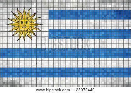 Flag of Uruguay - Illustration,  Uruguayan Flag flag in mosaic, Abstract grunge Uruguay Flag,  Abstract grunge mosaic vector