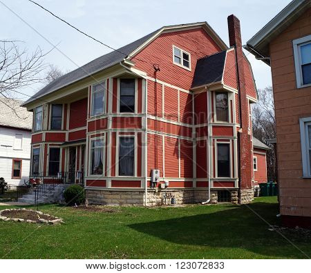 JOLIET, ILLINOIS / UNITED STATES - APRIL 12, 2015: A home in the Joliet Historic East Side Historic District near downtown Joliet.