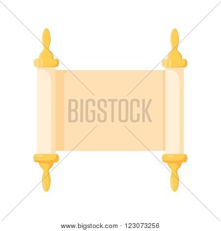 Torah scroll cartoon icon on a white background