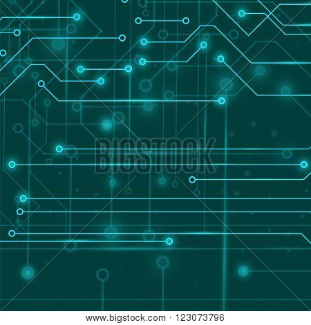 Modern Computer Technology Background. Circuit Board Pattern. High Tech Printed Circuit Board