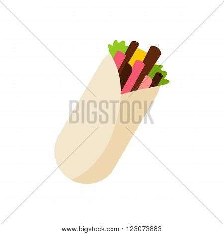 Tortilla wrap with meat and vegetables icon in flat style isolated on white background