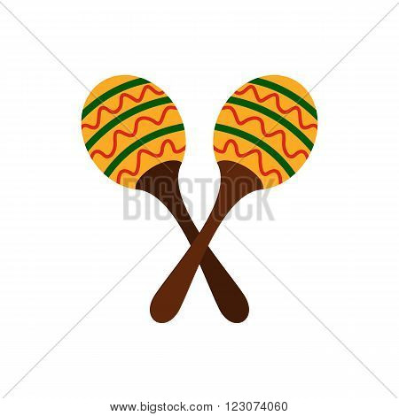 Maracas icon in flat style isolated on white background