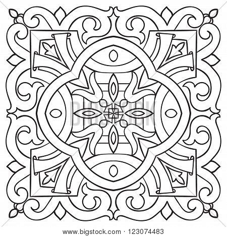 Hand drawing tile vintage black line pattern. Italian majolica style. Vector illustration. The best for your design textiles posters
