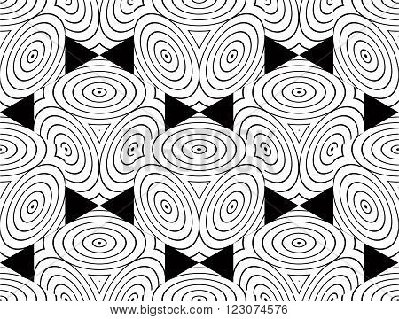 Contrast Black And White Symmetric Seamless Pattern With Interweave Circle Figures. Continuous Geome