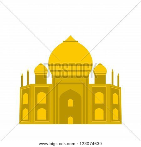 Taj Mahal, India icon in flat style isolated on white background