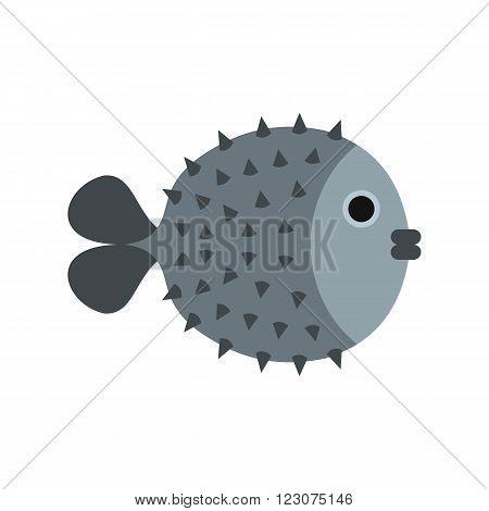 Fugu sharp fish icon in flat style isolated on white background
