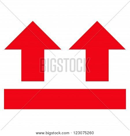 Bring Up vector icon. Style is flat icon symbol, red color, white background.