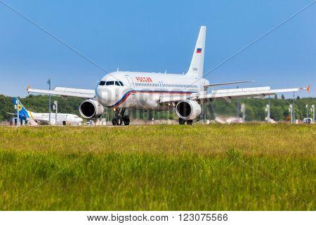 Ukraine, Borispol - MAY 22 : Russian airlines plane landed at the international airport Borispol on May 22, 2015 in Borispol, Ukraine