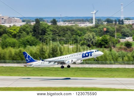 Ukraine, Borispol - MAY 22 : Polish Airlines Embraer 195 takes off at the international airport Borispol on May 22, 2015 in Borispol, Ukraine