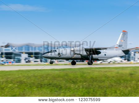 Ukraine, Borispol - MAY 22 : Military aircraft AN-26 is going to take off at Borispol International Airport on May 22, 2015 in Borispol, Ukraine