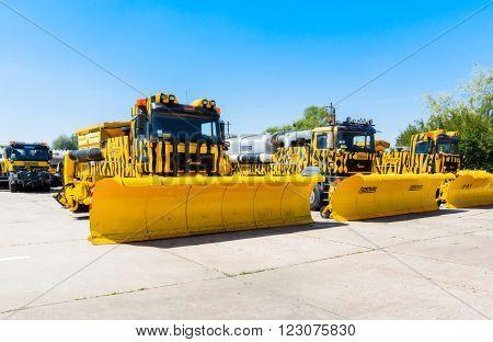 Ukraine, Borispol - MAY 22 : Snowblower. Equipment for maintenance of the runway at the International Airport Boryspil on May 22, 2015 in Borispol, Ukraine
