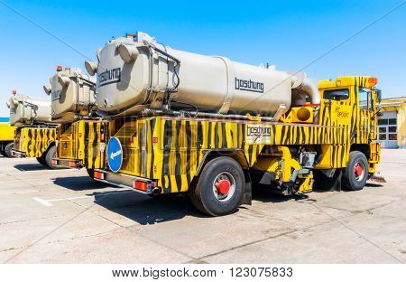 Ukraine, Borispol - MAY 22 : Machine for cleaning the runway. Equipment for maintenance of the runway at the International Airport Boryspil on May 22, 2015 in Borispol, Ukraine