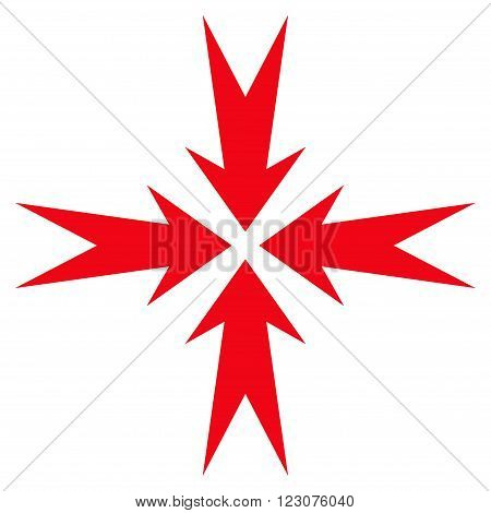 Compression Arrows vector icon. Style is flat icon symbol, red color, white background.