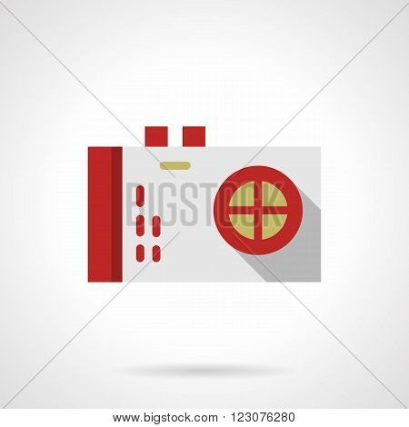 White photo camera with red elements. Reporter or journalist device. Blog, social networks. Vector icon flat color style. Web design element for site, mobile and business.