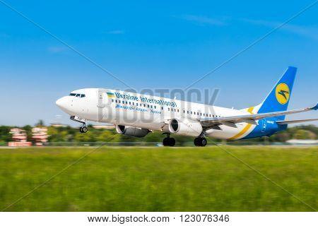 Ukraine, Borispol - MAY 22 : Boeing 737 takes off at the international airport Borispol on May 22, 2015 in Borispol, Ukraine