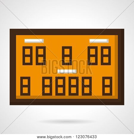 Orange scoreboard with brown elements for basketball game or competition. Time place, home and guest. Vector icon flat color style. Web design element for site, mobile and business.