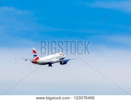 Ukraine, Borispol - MAY 22 : Airbus A319-131British Ayrvays takes off at the international airport Borispol on May 22, 2015 in Borispol, Ukraine