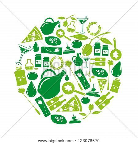 Olives And Olives Product Theme Green Icons Set Eps10