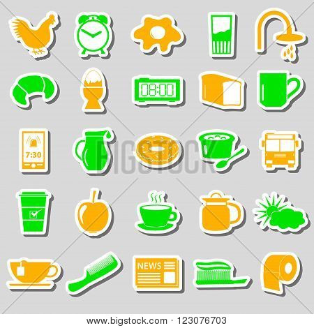 Morning Wake Up Theme Color Stickers Set Eps10