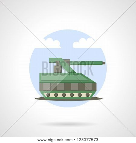 Green military tank. Robotic units. Remote control vehicles. Round vector icon flat color style. Web design element for site, mobile and business.