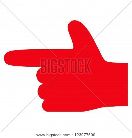Hand Pointer Left vector icon. Style is flat icon symbol, red color, white background.