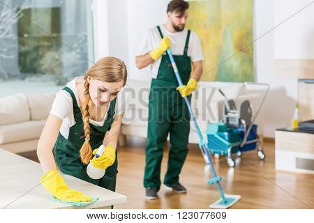 Young professional cleaners cleaning accurate spacious apartment. Man mopping the floor and girl polishing the table