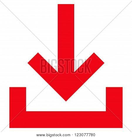 Inbox vector icon. Style is flat icon symbol, red color, white background.