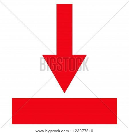 Move Bottom vector icon. Style is flat icon symbol, red color, white background.