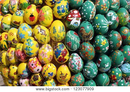 WASSERALFINGEN, GERMANY - MAY 05: Easter eggs exposed in front of the parish church of St. Stephen in Wasseralfingen, Germany on May 05, 2014.