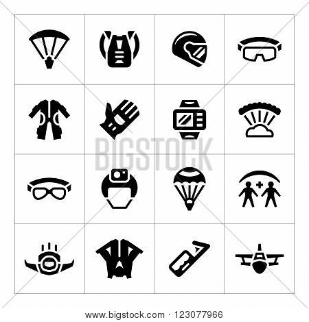 Set icons of parachute isolated on white. Vector illustration