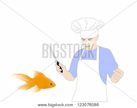 The Chef And Goldfish On White Background