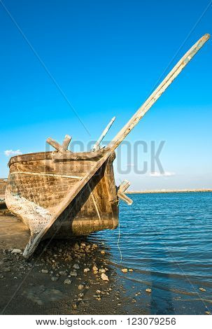 Dammam, an old Dow boat in the fisherman area.